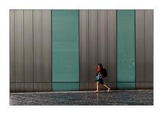 Walking woman... (Jean-Louis DUMAS) Tags: femme woman girl fille architecture people graphisme streetlife street lignes architectural architecturale rue scènederue gris vert