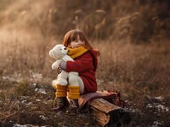 Start the Day with a Smile (agirygula) Tags: child girl teddy outdoor family waldorf redjacket fox littlefox childhood childportrait