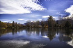 Winter. Puigcerdà, Spain (Pawel Wietecha) Tags: paisaje puigcerdà spain landscape cityscape blue sky clouds lake water park town tres reflections reflexión travel trip winter light colors catalonia mountains tree forest