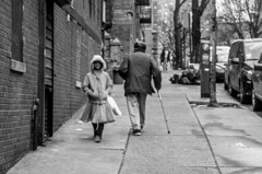 The little girl and the old man. (Capitancapitan) Tags: old man little girl nyc bronx riverdale neury luciano black white music pop rock