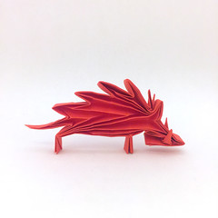 Origami Wild Boar (Orimin) Tags: origami art paper papercraft craft handmade animal mammal wild boar tusks red chinese japanese korean asian new year original design mindaugas cesnavicius
