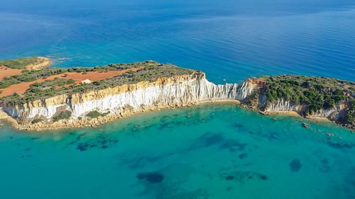 Gerakas beach rocks Zakynthos Greece Aerial