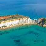 Gerakas beach rocks Zakynthos Greece Aerial thumbnail