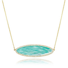 Horizontal Oval 18k Yellow Gold Diamond Necklace With Clear Quartz Over Amazonite (diamondanddesign) Tags: horizontaloval18kyellowgolddiamondnecklacewithclearquartzoveramazonite n5710az 18k yellow gold amazon breeze doves 025 ct necklaces diamond clear quartz over amazonite front