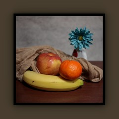 Still Life with Fruit (N.the.Kudzu) Tags: tabletop stilllife fruit cheese cloth vase flower canoneosm industar104 photoscape frame