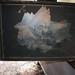 Fire damaged painting restoration stock photo