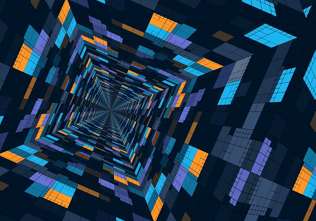 Обои перспектива, геометрический, узор, цветной, структура, футуристический картинки на рабочий стол, фото скачать бесплатно