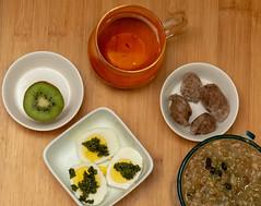 Healthy Protein Breakfast (JavaJoba) Tags: fitnessfood kiwi eggs tea oatmeal sausage