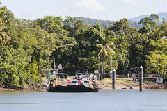 Daintree Ferry (oz_lightning) Tags: 14xtc australia canon40d canonef70200mmf4lisusm daintreeriver farnorthqueensland people qld cars ferry geography landscape nature sign water queensland aus