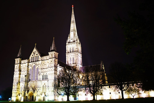 Salisbury Cathedral by night, Wiltshire, UK
