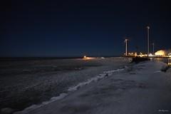 Winter Night Shore (Bo Ragnarsson) Tags: winter night shore boragnarsson nikond600 windmill windmills winternight harbor nightsky coast coastline ocean gävle vindkraftverk nightscape