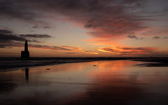Rattray Head Lighthouse - Jan 2019 #08 (PeskyMesky) Tags: aberdeenshire rattrayhead lighthouse sunrise sunset scotland red sky sea sand water cloud landscape winter flickr canon canon5d eos
