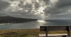 sit, here (BoblyP) Tags: boblyp uk unitedkingdom scotland orkney bench view sit sitting clouds headland water sea seaview cliffs hoy rackwick rackwickbeach