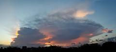Thunderstorm at sundown (jeremyhughes) Tags: singapore sunset storm thunderstorm anvilhead thunderhead cloud clouds city cityscape sky weather dusk evening stitch panorama nikon d700 tropics tropical structure
