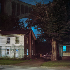 (patrickjoust) Tags: mamiya c330 s sekor 80mm f28 kodak portra 160 tlr twin lens reflex 120 6x6 medium format c41 color negative film cable release tripod long exposure night after dark manual focus analog mechanical patrick joust patrickjoust nicholson pennsylvania pa usa us united states north america estados unidos tunkhannock viaduct house home blue light window