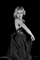 Dance (piotr_szymanek) Tags: ania aniaz woman young skinny portrait studio blackandwhite face eyesoncamera dress dance hand blonde 1k 20f 5k 50f 10k 20k 30k