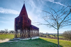 Ghost Church (enneafive) Tags: art gijsandvanvaerenbergh architects church borgloon sky bly steel cortensteel tree grass nature clouds shadow light landscape fujifilm xt2 affinityphoto moiré mesmerising