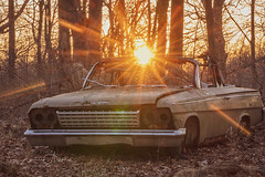 Final Parking Spot (Xavier Ascanio) Tags: blackhills automobile car abandoned neglect decay rust sunburst sunset flare rays forest chevy chevrolet damaged outdoors vehicle