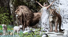 In Like a Lion, Out Like a Lamb (SLRedFire) Tags: imtoosexyforthisgroup marchphotocontest march spring winter sl secondlife secondlifephotography lion lamb sheep chicks woman angel princess liontamer