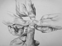 THUMBS IN (Sketchbook0918) Tags: pencil drawing paper friends friendship thumbs symbolic symbolism unity unified camaraderie solidarity togetherness pact promise