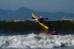 13th Wave (westcoastcaptures) Tags: kayak ocean pacific juandefuca vancouverisland waves surf surfing boat paddling mountains