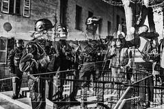 Les barrières invisibles et le regard de la femme CRS... (JM@MC) Tags: marseille surimpression doubleexposure police protest blackandwhite noiretblanc
