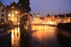 Jesuitenkirche - Luzern (Baptiste Jaussoin) Tags: bluehour eau river longexposure jesuitenkirche luzern lucerne switzerland schweiz spreuerbrücke suisse