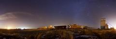 Mossleigh Panorama - Version 2 east -west (John Andersen (JPAndersen images)) Tags: alberta farm mossleigh night panorama sky stars train
