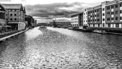Choppy Waters (WorcesterBarry) Tags: blackwhite bnw buildings water gloucesterdocks places people photographers outdoors urban monochrome travel transport sky clouds texture