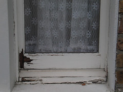 Rough-Window-or-Paint_0996 (hoffman) Tags: window paint dilapidation delapidation rundown poor poverty flaking peeling flaky flakey maintenance maintainance reflection brick rotting deteriorating diy decay disrepair neglect wear house housing street outdoors wornout wearandtear davidhoffman wwwhoffmanphotoscom london uk