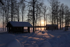 Cabin in the Woods (shifuxian) Tags: winter finland snow lake cabin trees shadows nature outdoors silhouette color hues seasons outside