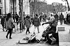 Cellist (garryknight) Tags: sony a6000 on1photoraw2018 london themonoseries monochrome blackandwhite copyright allrightsreserved street candid cello musician music cellist woman playing play busk busker busking