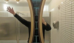 Split Mirror [a failed flight to stardom] (Robert Saucier) Tags: newyork newyorkcity nyc miroir mirror main hand toilette gents bathroom brooklyn fulton fultonhall self selfportrait selfie égoportrait yo moi img4770