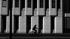 The Cyclist (Silver Machine) Tags: london streetphotography street bike bicycles silhouette building outdoor blackwhite bw mono monochrome fujifilm fujifilmxt10 fujinonxf35mmf2rwr