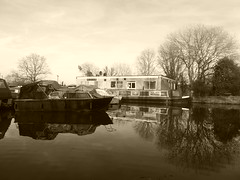 Top Lock Marina, Marple.   (Peak Forest Canal)   February 2019 (dave_attrill) Tags: toplock marina barges moored peakforest canal towpath peakdistrict nationalpark cheshire february 2019 cheshirering sepia monochrome tint water waterway