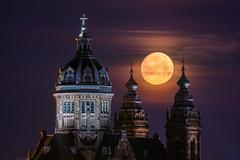 Amsterdam Super Moon (albert dros) Tags: supermoon albertdros amsterdam thenetherlands dutch netherlands moon church nightphotography astro astrophotography lunar