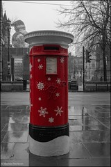 The festive post (Mike McNiven) Tags: post box postbox royalmail royal mail postalservice postal coloursplash splash colour red manchester greatermanchester