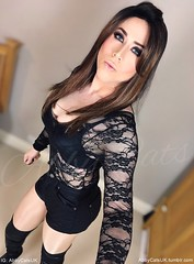 More of the other night's makeup and my fab over the knee boots (AbbyCatsUK) Tags: abbycatsuk abbycats mtf transgender trans genderfluid crossdress crossdresser crossdressing tgirl