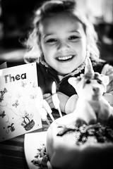 6 Today!!! (judy dean) Tags: judydean 2019 thea birthday 6 cake card smile happy lensbaby blackandwhite 365the2019edition 3652019 day41365 10feb19 52in2019 10happiness
