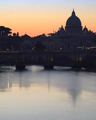 The moment before illumination (Oleg Kr) Tags: italia lazio rome bluehour livecomposite longexposure reflection river sundown sunset twilight
