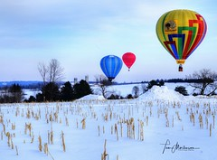 Ballooning (Tom Mortenson) Tags: winter balloons wisconsin brokawwisconsin marathoncounty midwest snow digital geotagged country usa farmland canon canoneos hotairballoons colorful ballooning balloonlaunch colors colourful 24105l tonemapping america northamerica cornfield centralwisconsin vibrantcolors landscape