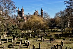 Cathedral and Cemetery (sharon.corbet) Tags: cemetery graveyard cathedral wormscathedral worms germany rheinlandpfalz 2019 jewishcemetery graves trees holysand