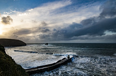 Portreath Bay (tonyayers) Tags: dramaticsky ocean cornwall kernow harbour bay storm stormywater cloud wave crashingwave breakingwave