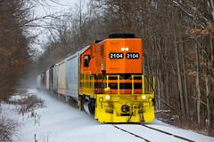 Rolling Along (conrail6809) Tags: emdgp382 gr2104 grandrapidseastern gre gw geneseewyoming gwi shortline gtw grandtrunkwestern railroad railway train trains snow winter lowellmi michigan railfan railfanning
