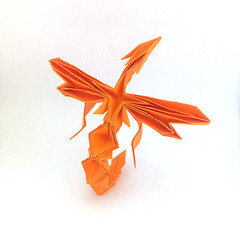 Origami Phoenix (Orimin) Tags: origami paper papercraft craft art handmade mythology phoenix bird fire wings tail orange asian mindaugas cesnavicius