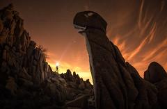 Lightman & Dinosaurio Rex (el_farero) Tags: sierrademadrid dinosaurio pedriza farero nightshot lightpainting paisaje nocturna madrid rocks landscape
