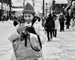 good times (gro57074@bigpond.net.au) Tags: candidportrait f56 winter candid candidstreet streetphotography 2470mmf28 tamron d850 nikon monochrome monotone mono bw blackwhite 2019 february japan guyclift hokkaido otaru