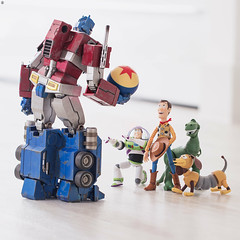 """""""Hey Buzz I think the Space Rangers have had an Upgrade!"""" (Jezbags) Tags: toystory buzz buzzlightyear woody rex transformer optimusprime optimus slinky dog disney toystory4 toy toys revoltech hottoys canon canon80d 80d 100mm macro macrophotography macrodreams pixar"""
