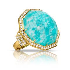 18k Yellow Gold Diamond Ring With Clear Quartz Over Amazonite In Satin Finish (diamondanddesign) Tags: 18kyellowgolddiamondringwithclearquartzoveramazoniteinsatinfinish r8219az 18k yellow gold amazon breeze doves 08 ct rings diamond clear quartz over amazonite front