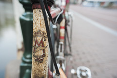 Merlin racing cycle (Arne Kuilman) Tags: zeiss 25mmf28 amsterdam nederland april 2019 walk city netherlands merlin merlinracingcycles bicycle retro old marumi closeupfilter 5 leeds york emblem logo fiets racefiets closeup macro detail madeinengland lightweight racing